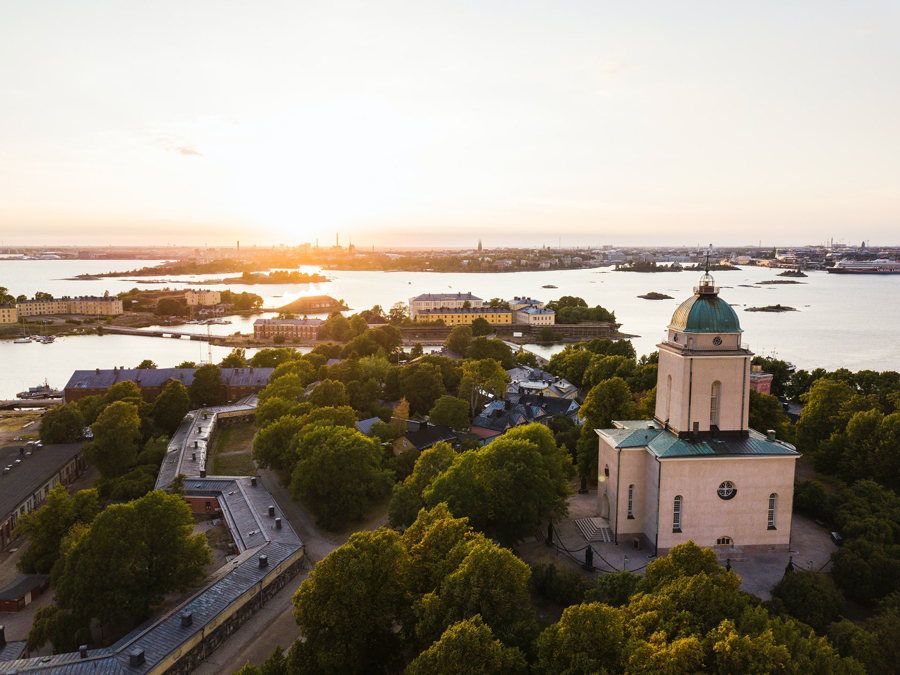 Sunset over Suomenlinna Sea Fortress in Helsinki